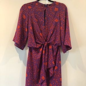 Topshop Dresses - Topshop rose print kimono sleeve mini dress sz 4